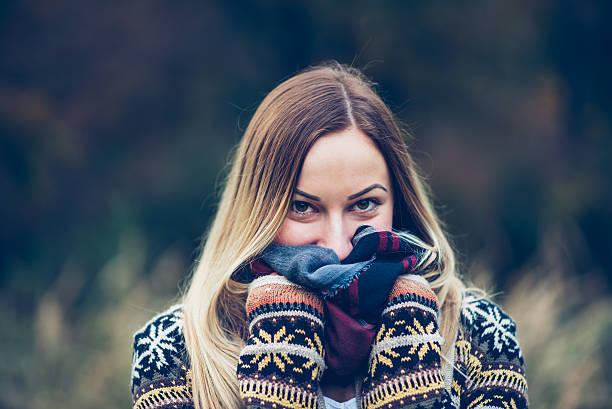 girl portrait in field stock photo
