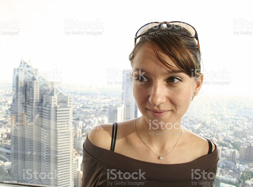 Girl Portrait with Tokyo as background royalty-free stock photo