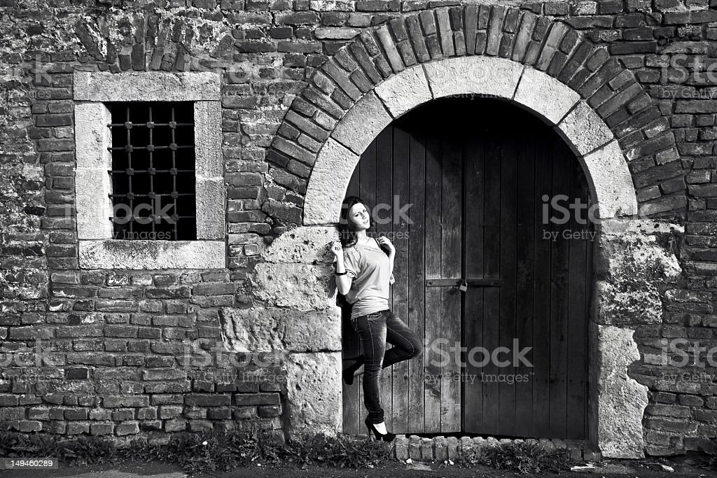 Girl posing in fortress stock photo