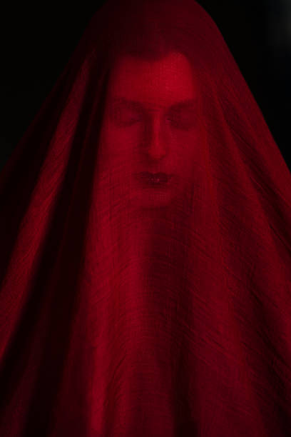 girl posing with red fabric - veil stock pictures, royalty-free photos & images