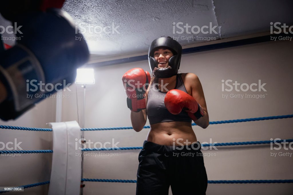 Girl Power in the Boxing Ring stock photo