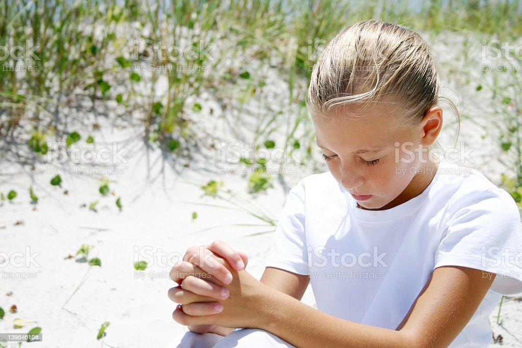 girl praying 2 royalty-free stock photo