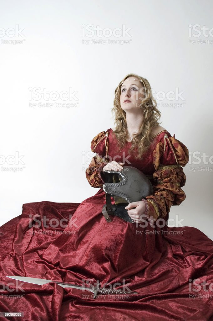 Girl praying for the soldier royalty-free stock photo