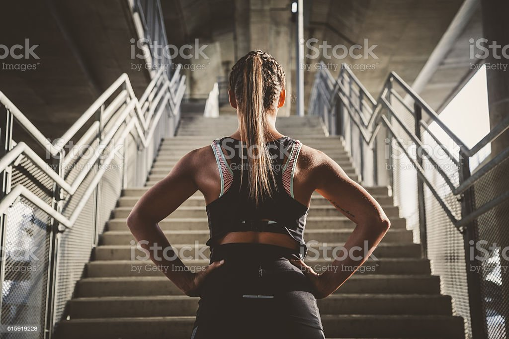 Girl prepairing for workout stock photo