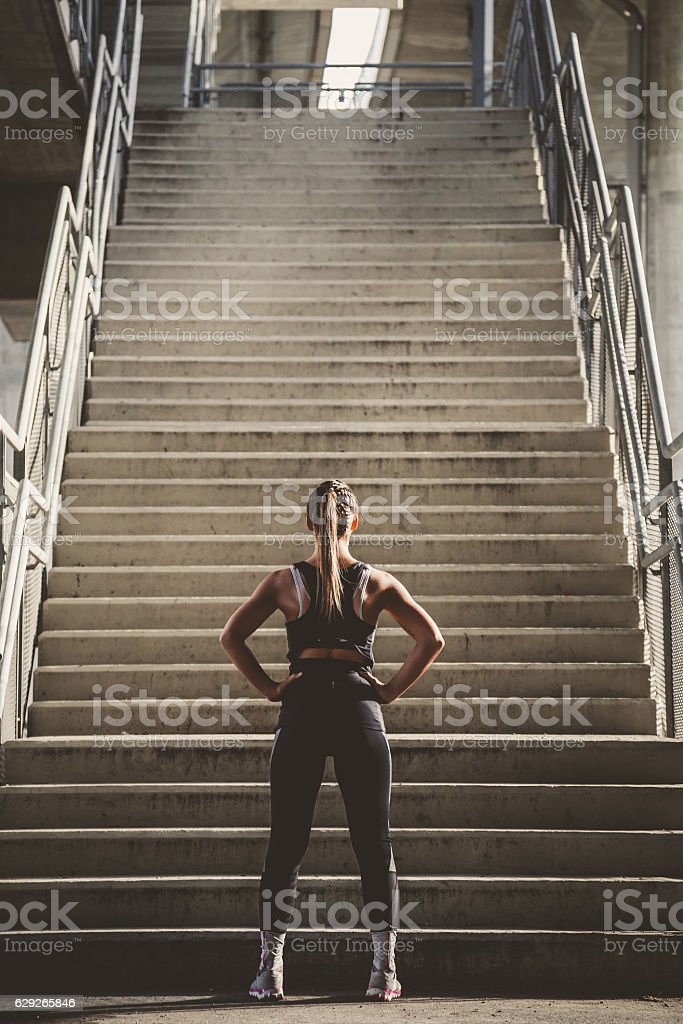 Girl prepairing to workout stock photo