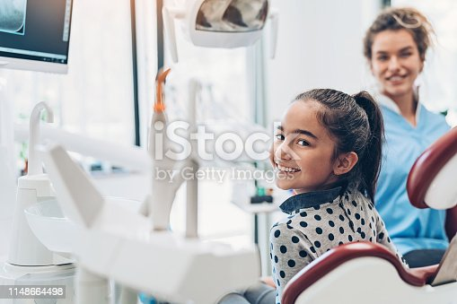 Dentist and a girl patient in the dentist's office