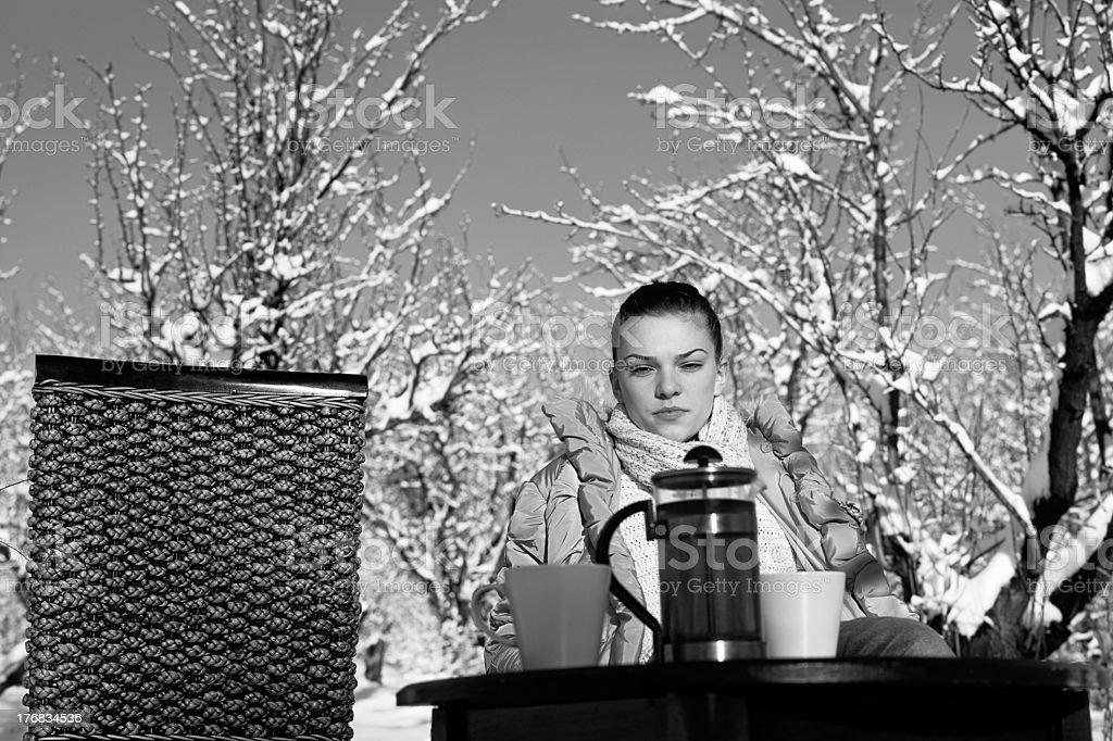girl preparing to drink tea royalty-free stock photo