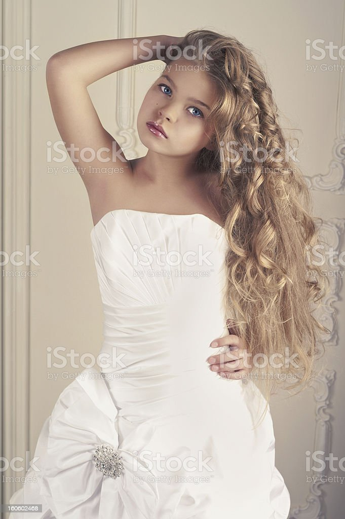 Girl princess in white ball gown stock photo
