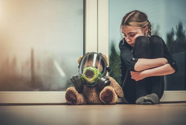 Girl Protected Her Teddy Bear stock photo