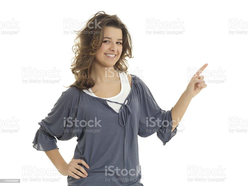 Girl publicizing stock photo