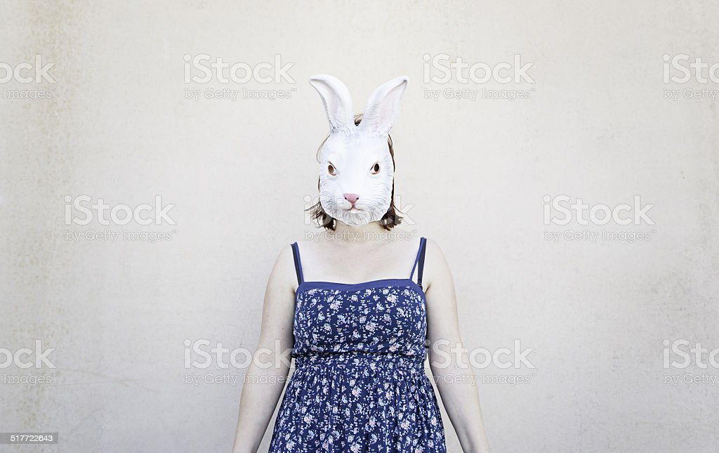 Girl rabbit mask stock photo