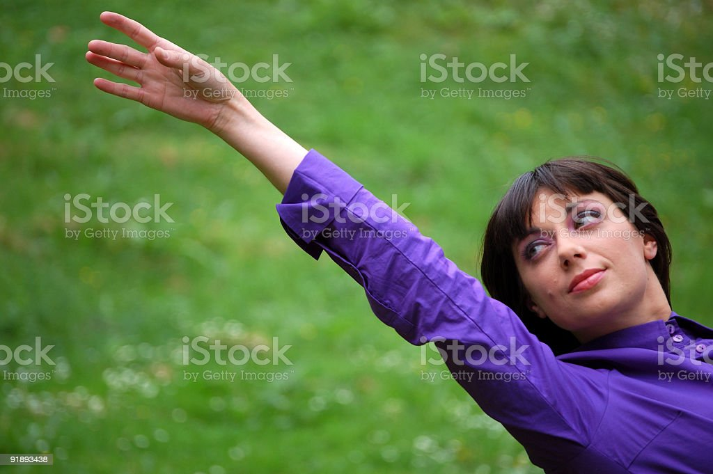 Girl Reaching Out stock photo