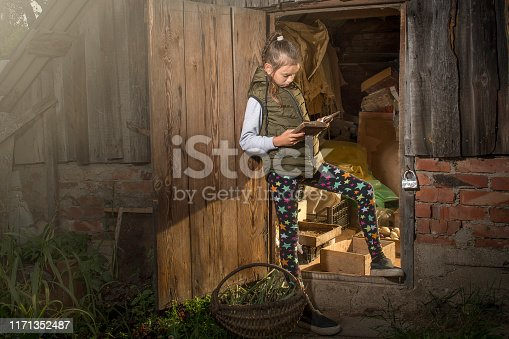 Reading a book in an old barn.