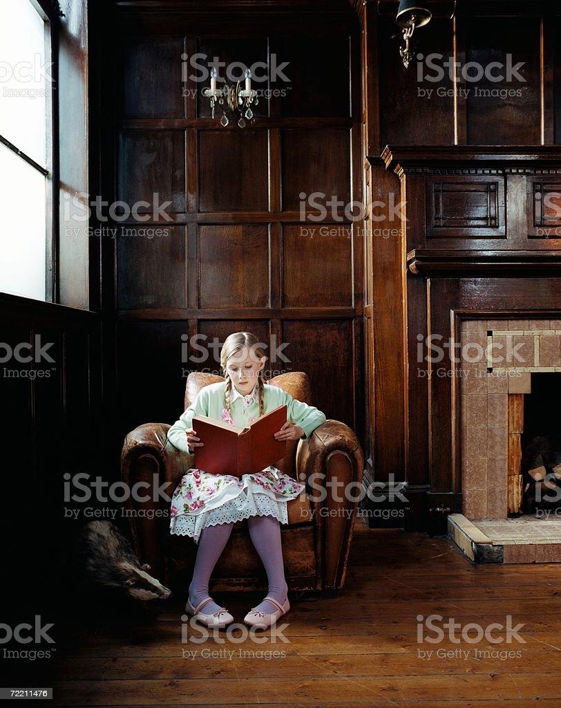 Girl reading beside a badger stock photo