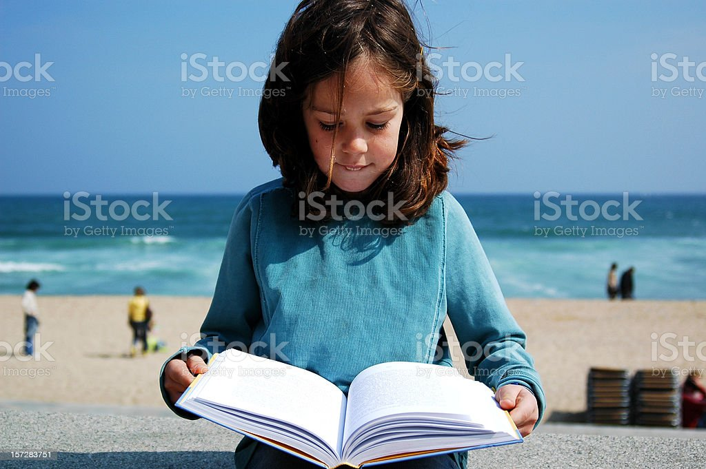 Girl reading book royalty-free stock photo