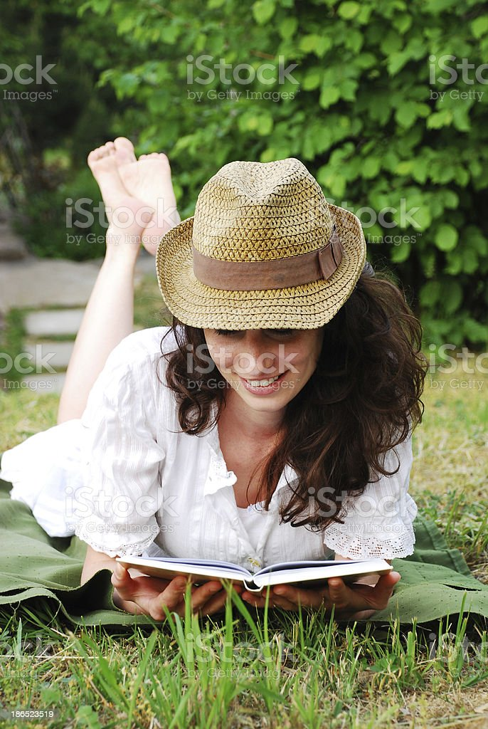 girl reading book royalty-free stock photo