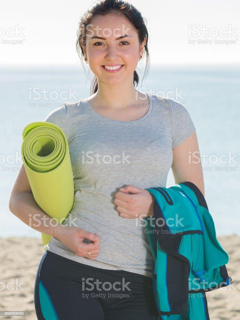 Girl ready to start training stock photo