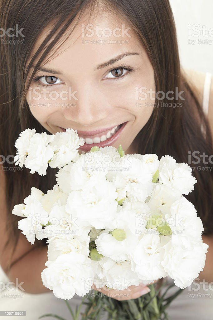 Girl receiving flowers royalty-free stock photo