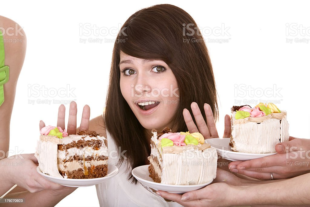 Girl refuse to eat pie. royalty-free stock photo