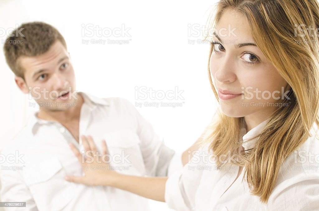 Girl rejecting a young guy stock photo