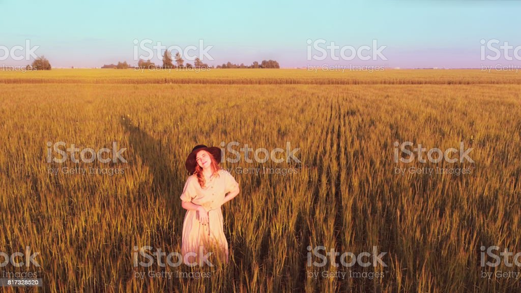 Girl Rejoicing To Sun stock photo