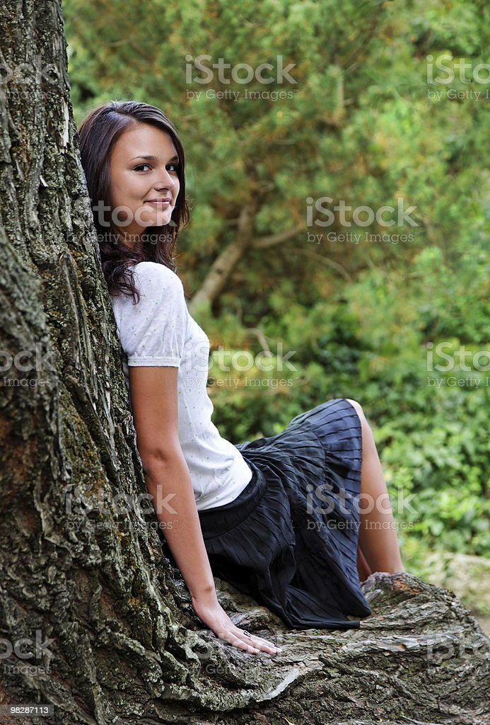 girl relaxes in the park royalty-free stock photo