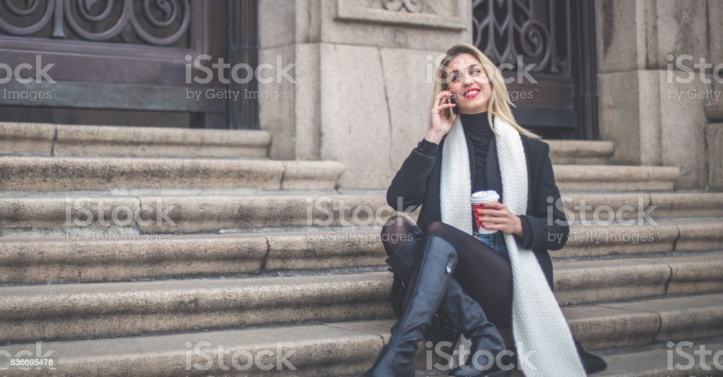 Girl relaxing alone stock photo