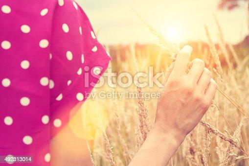 523172398istockphoto Girl relaxing in a wheat-field. 492313014