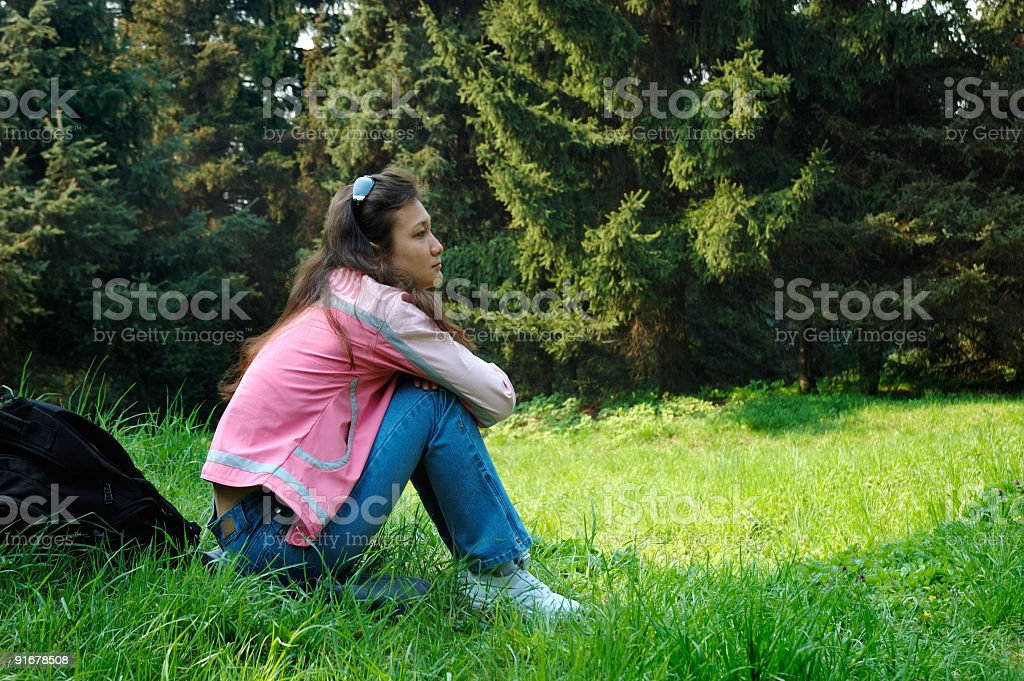 Girl relaxing in summer nature royalty-free stock photo