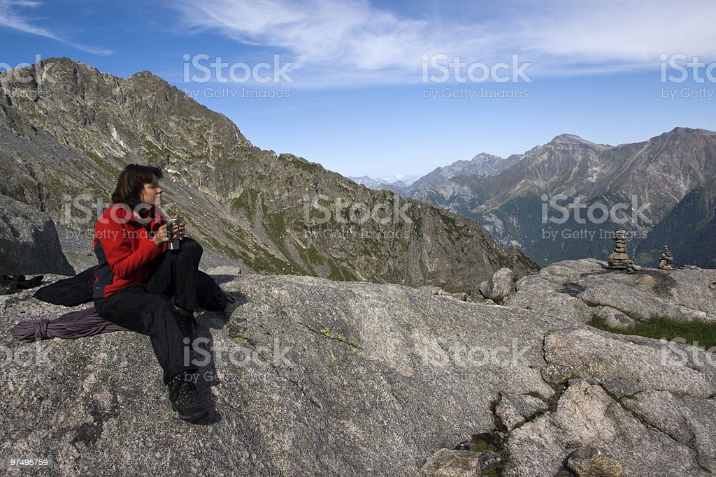 Girl relaxing mountains royalty-free stock photo