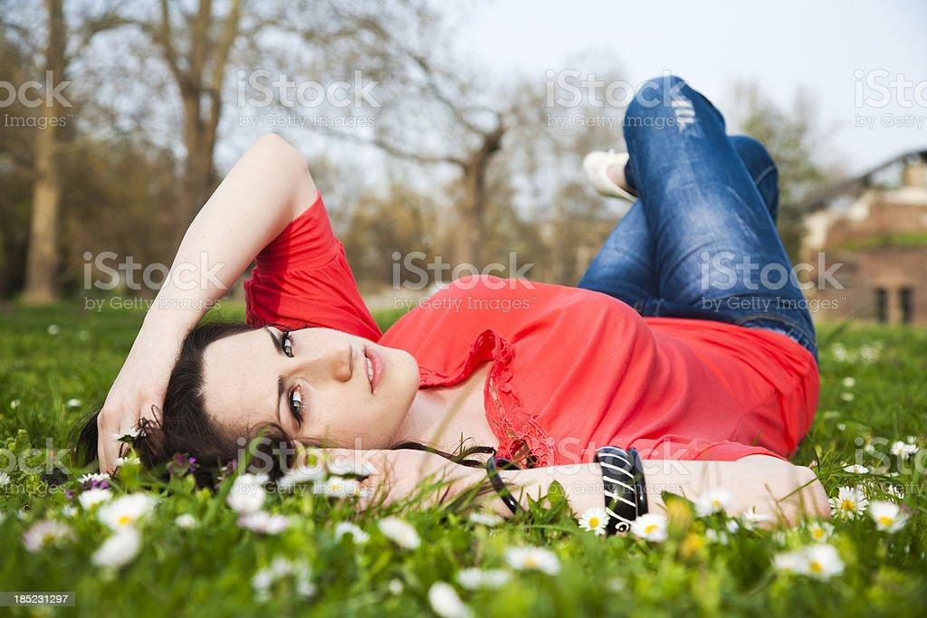 Girl relaxing stock photo