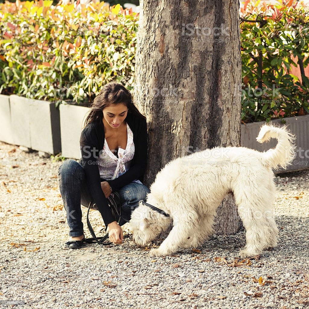 Girl Relaxing with dog in the park royalty-free stock photo