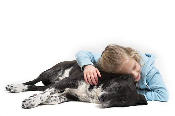 Girl resting affectionately with her pet dog stock photo