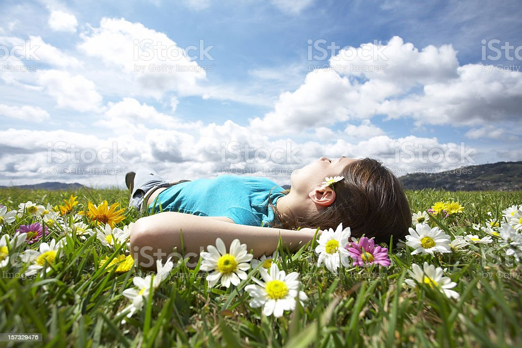 Girl resting in meadow 4 royalty-free stock photo