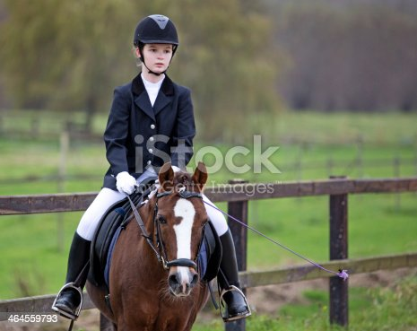 girl riding a horse during competition