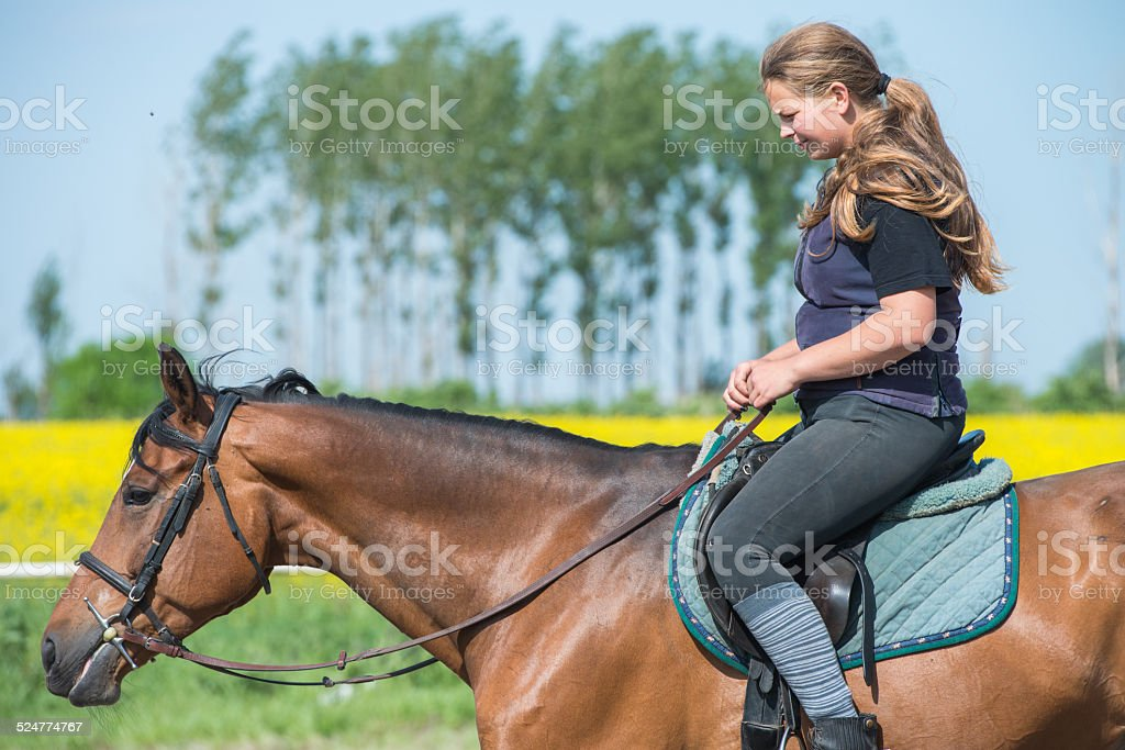 girl riding a horse stock photo