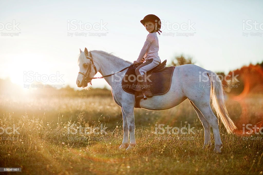 Girl riding a horse stock photo