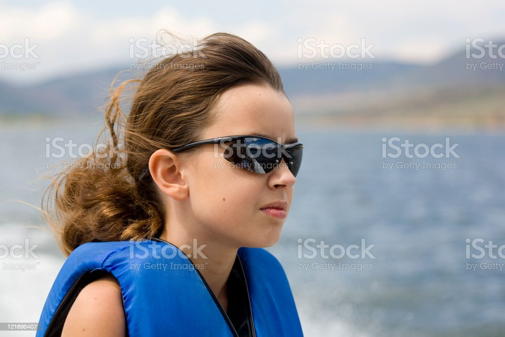 Girl Riding on Boat royalty-free stock photo