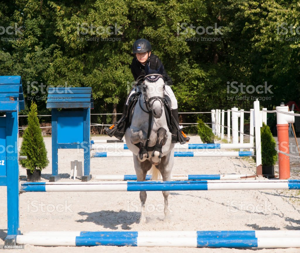 Girl riding roan pony on showjumping competition stock photo