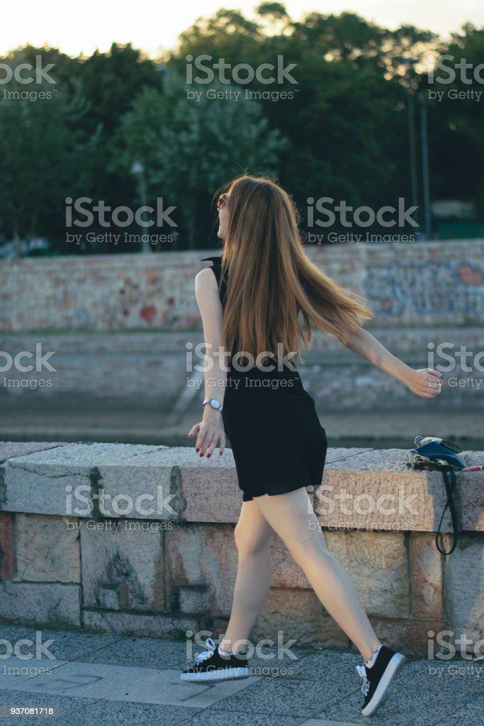Girl runing stock photo
