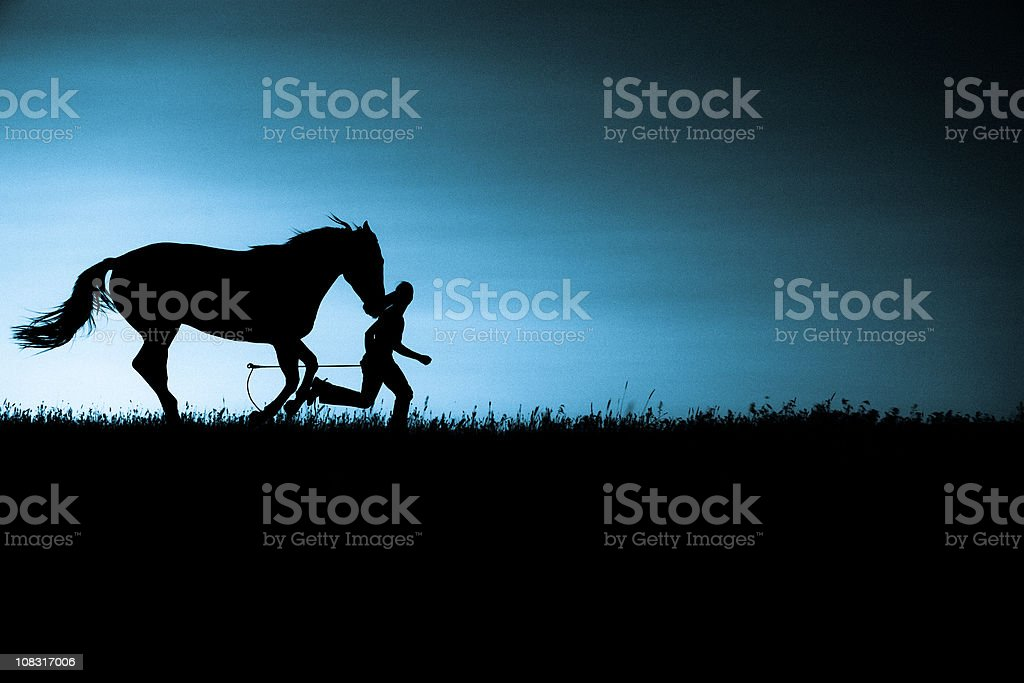 Girl Running With Horse stock photo