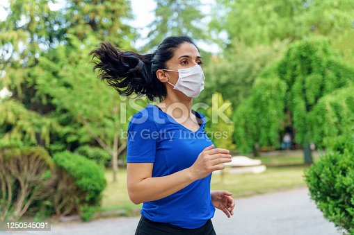 girl running with mask