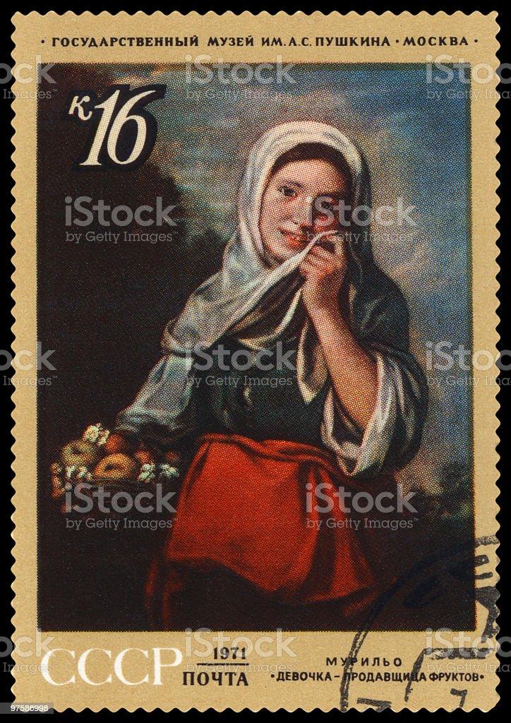 Girl saleswoman fruit by Esteban Murillo postage stamp royalty-free stock photo