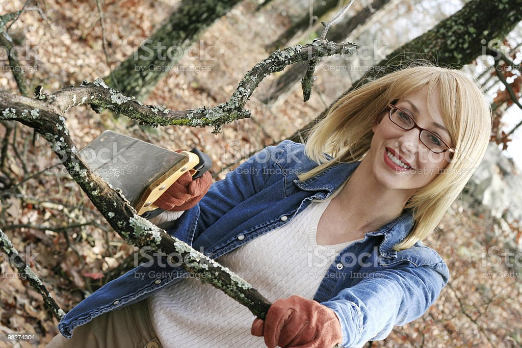 girl sawing royalty-free stock photo