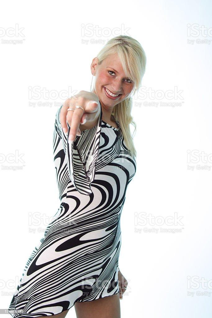 girl saying 'hey you' royalty-free stock photo