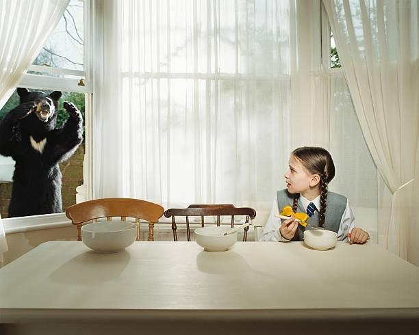 Jeune fille peur de bear à la fenêtre - Photo