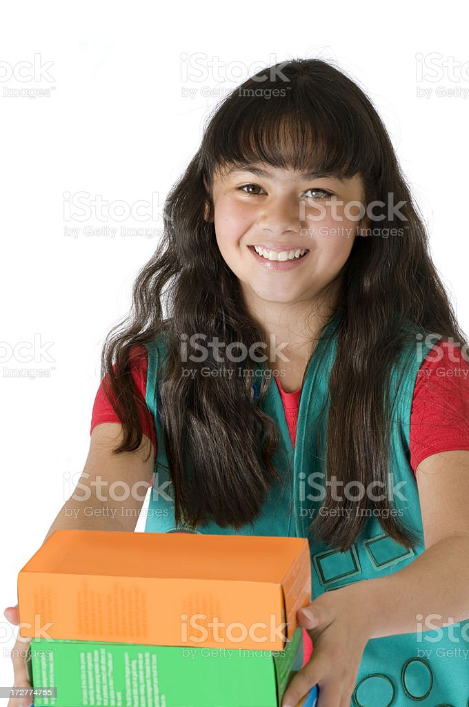 Girl Scout Selling Cookies royalty-free stock photo