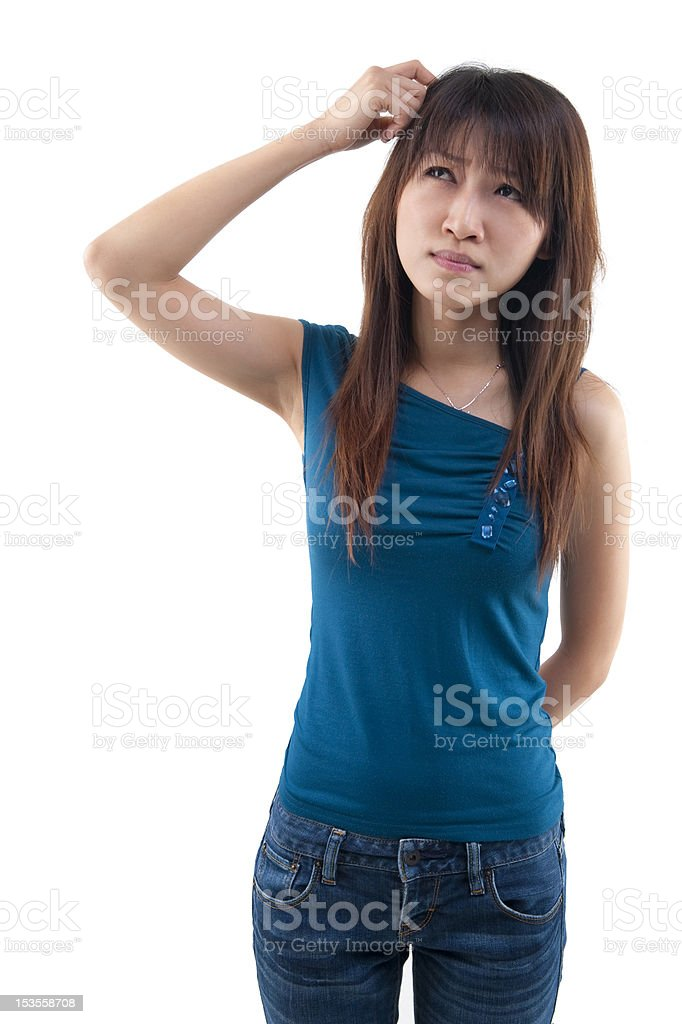 Girl Scratching royalty-free stock photo