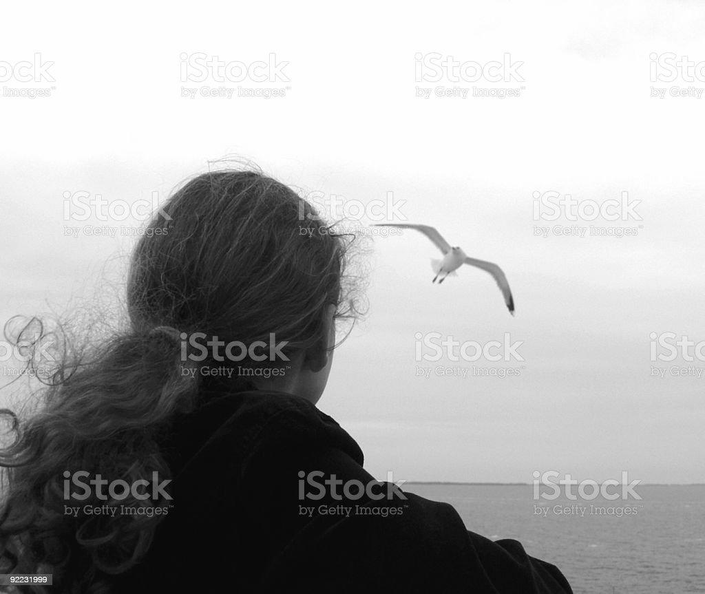 Girl & Seagull. royalty-free stock photo