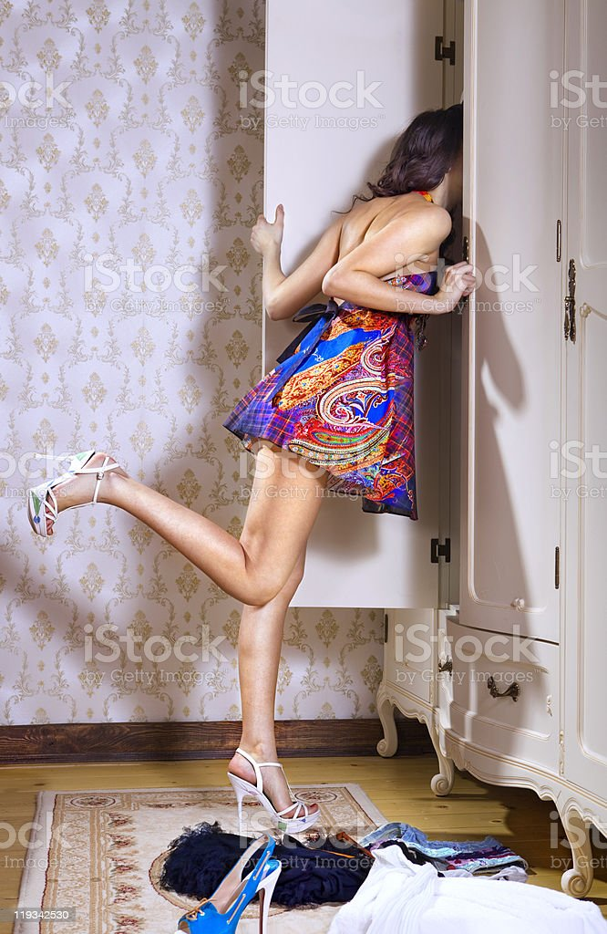 girl searches something stock photo